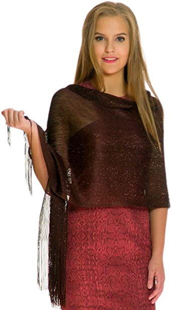 Shawls and Wraps for Evening Dresses, Metallic Sparkle Womens .