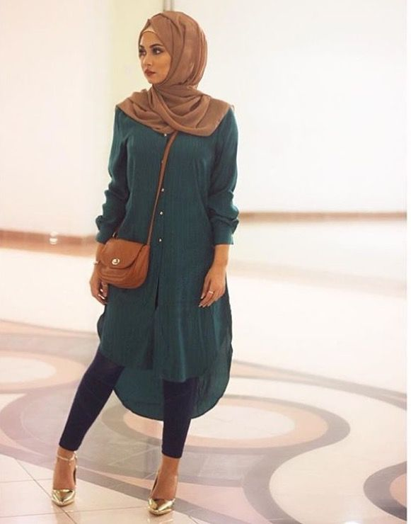 Chiffon hijab styles, with a long tunic dress over leggings with .