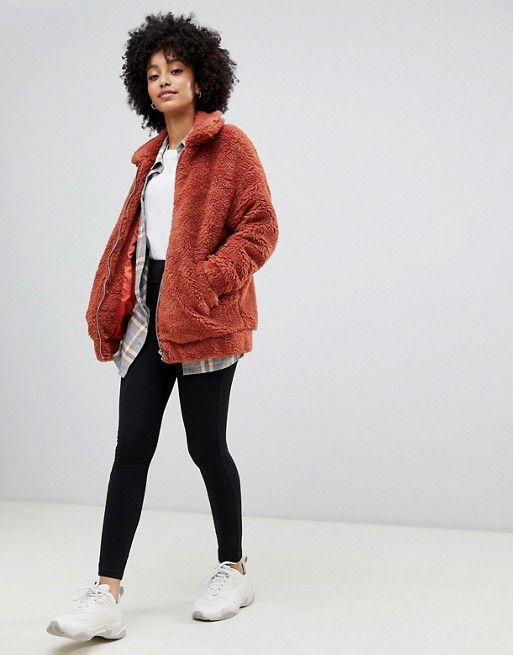 New Look | New Look teddy faux fur bomber jacket in rust #Fashion .