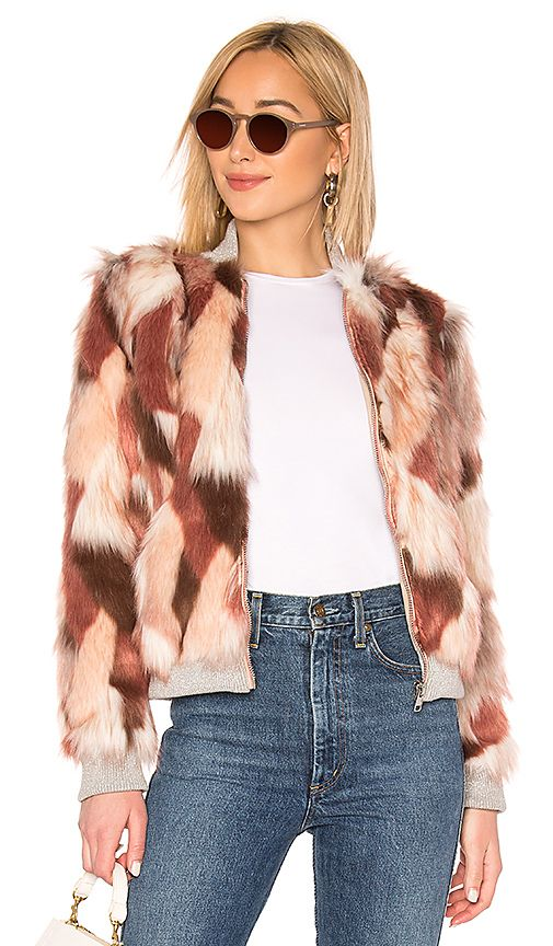 Chaser Faux Fur Bomber Jacket in Pink Calico | REVOLVE | Fur .