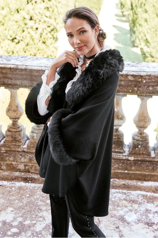 Fabienne Capelet - Faux Fur Cape | Soft Surroundings | Faux .