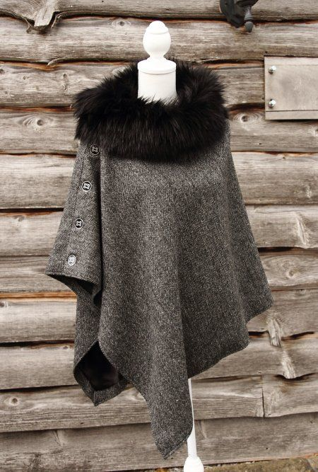 Harris Tweed Slate & Faux Fur Cape | Cool outfits, Sewing dresses .