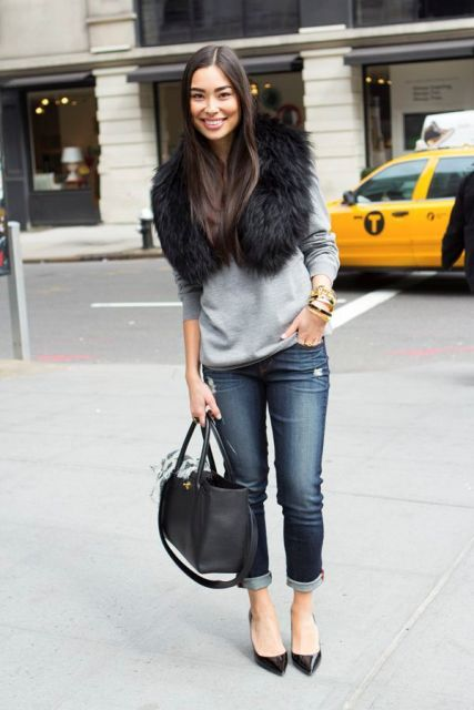 15 Fall Outfit Ideas With Faux Fur Stoles | Fashion, Style, Autumn .