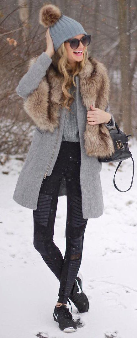 winter #fashion / Grey Beanie / Faux Fur Scarf / Grey Coat / Black .