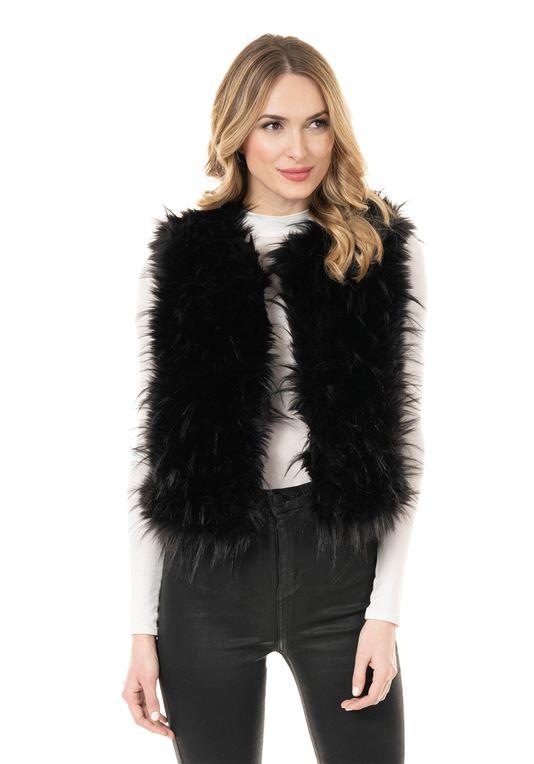 Black Ostrich Faux Fur Vest | Womens Faux Fur Ves