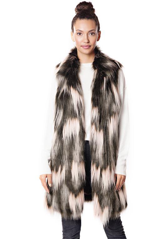 Dappled Fox Knee-Length Faux Fur Vest | Womens Faux F