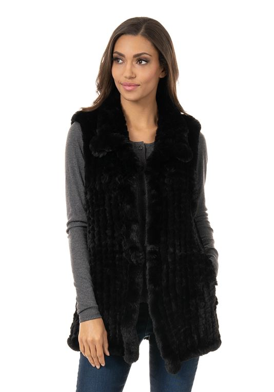 Black Knitted Faux Fur Vest | Womens Faux Fur Ves