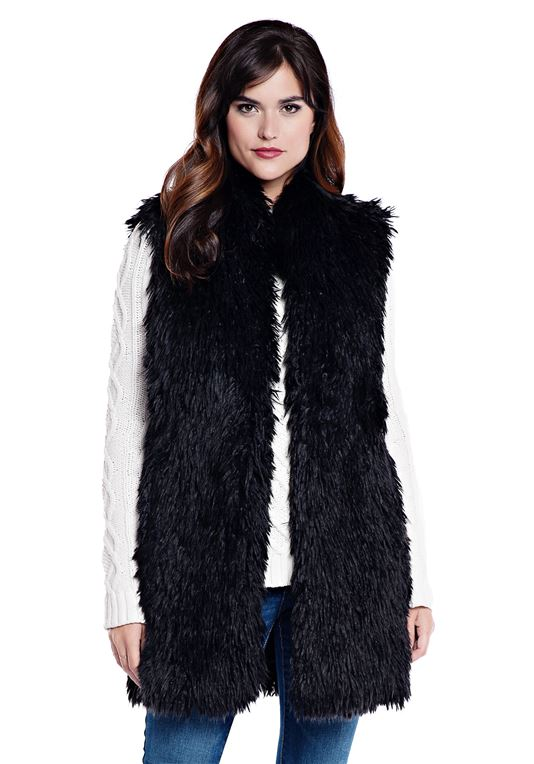 Black Llama Faux Fur Vest | Fabulous Fu