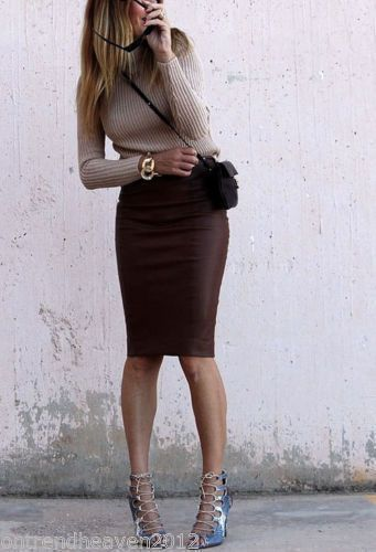 014-ZARA-BROWN-MIDI-PENCIL-BODYCON-SKIRT-SNAKESKIN-FAUX-LEATHER .