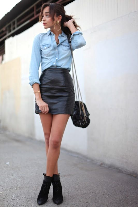 leather skirt outfit - Google Search | mᎽ sᏆᎽᏞᎬ | Black ankle .
