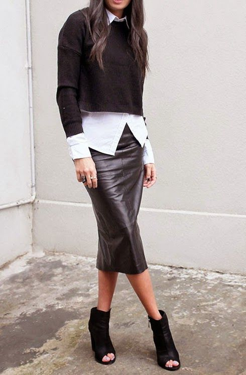black leather skirt, white button-down (not tucked in), black .