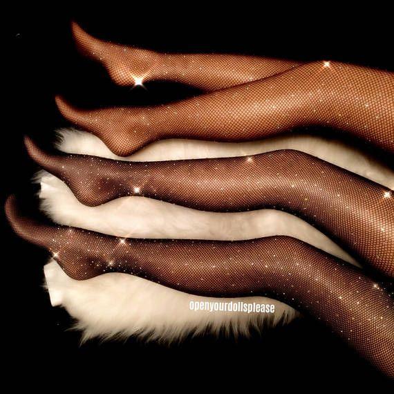 Crystal Fishnet Tights. Black Skin Tone Festival Rave Rhinestone .