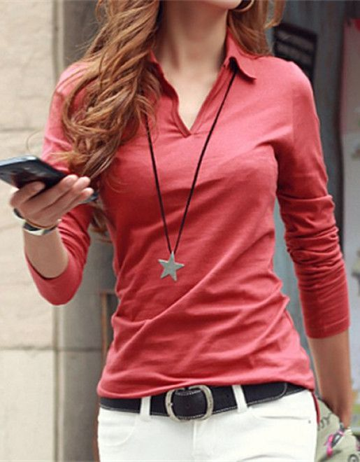 Casual Women's Shirt Collar Long Sleeves Solid Color T-Shirt (com .