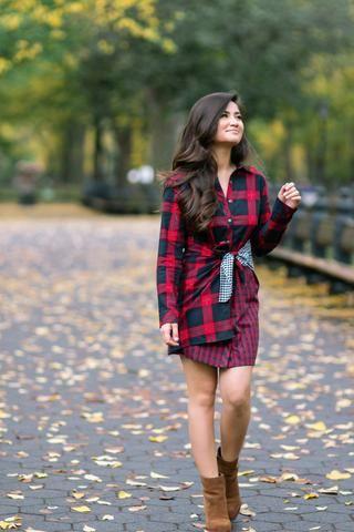 Vanna Red Mixed Plaid Flannel Dress | Plaid flannel dress, Dress .