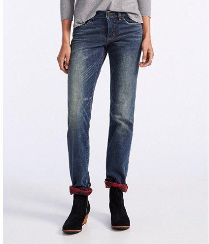 Signature Straight-Leg Jeans, Flannel-Lined #warmpants #linedjeans .