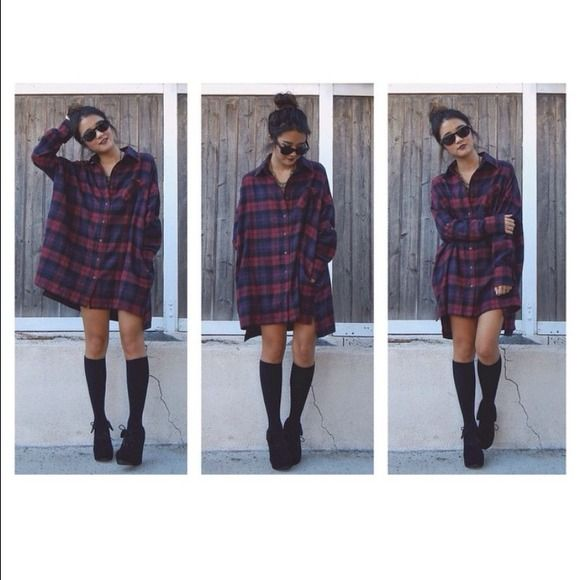 oversized flannel dress - Google Search | Flannel outfits, Flannel .