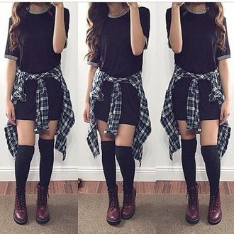 dress flannel t-shirt dress outfit girl hair oufit shoes drmartens .