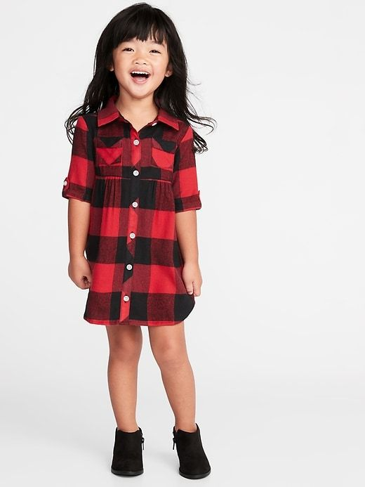 Plaid Flannel Shirt Dress for Toddler Girls | Toddler designer .