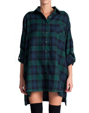 Plaid Flannel Shirt Dress - Green | Plaid flannel shirt dress .