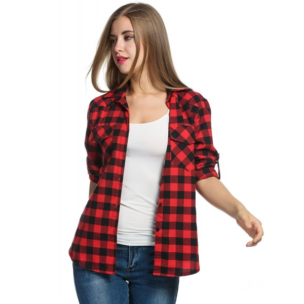 Women's Plaid Flannel Shirt- Roll Up Long Sleeve Checkered Cotton .
