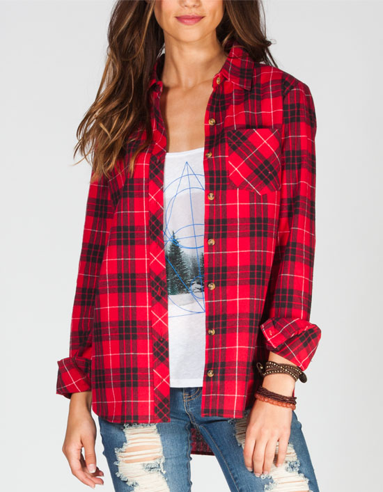 WHY ARE WOMENS FLANNEL SHIRTS RED, WHITE AND BLUE .