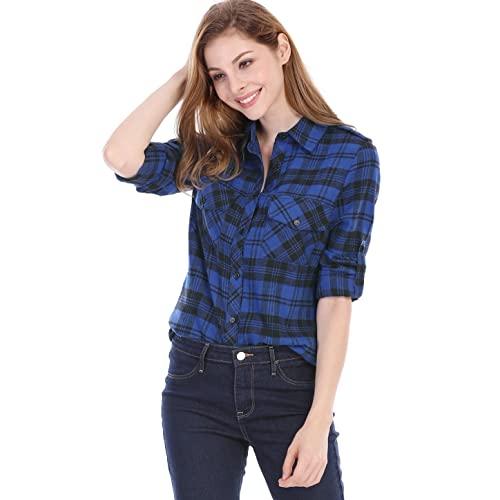 Women's Blue Flannel Shirt: Amazon.c