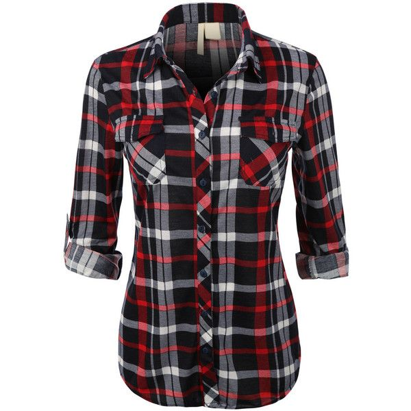 Womens Lightweight Plaid Button Down Shirt with Roll Up Sleeves .