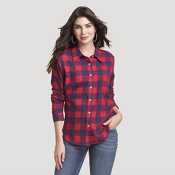 Women's Boyfriend Fit Button-Down Buffalo Check Flannel Shirt .