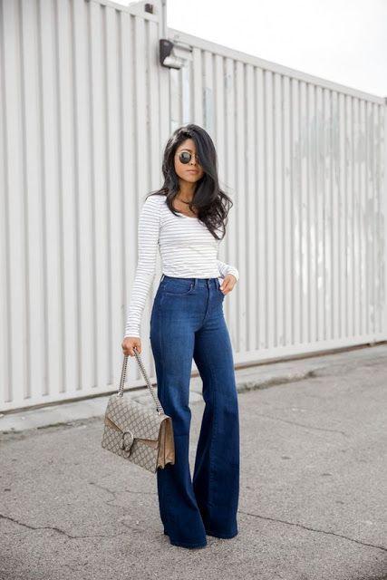 Street style | High waisted flare jeans, High waisted flares, Fashi