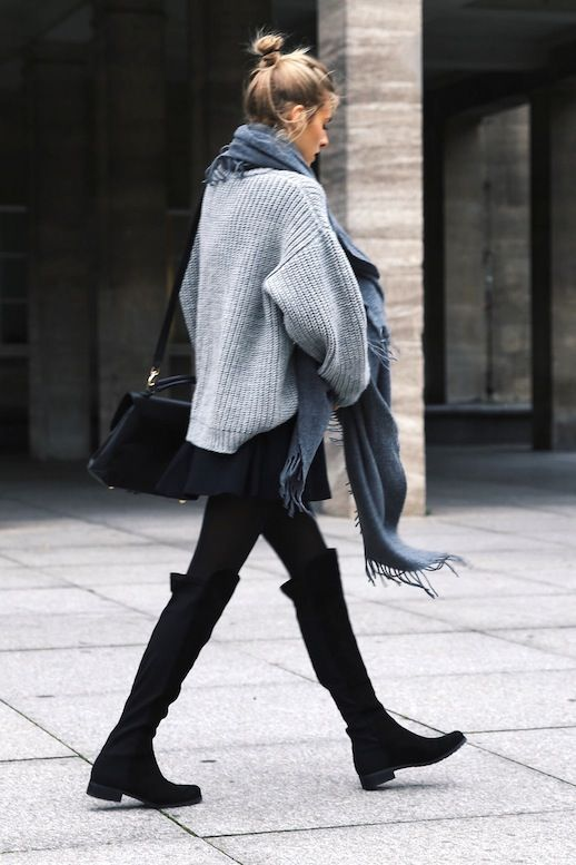 Le Fashion Blog Blogger Style Oversize Scarf Chunky Sweater Mini .