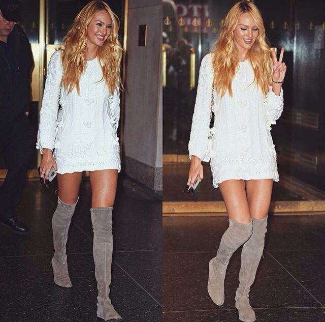 Pinterest: @barbphythian || styling: Knee high boots | grey/taupe .
