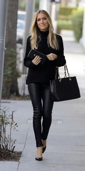 Black Faux Leather / Pleather High Waisted Warm Fleece Leggings .