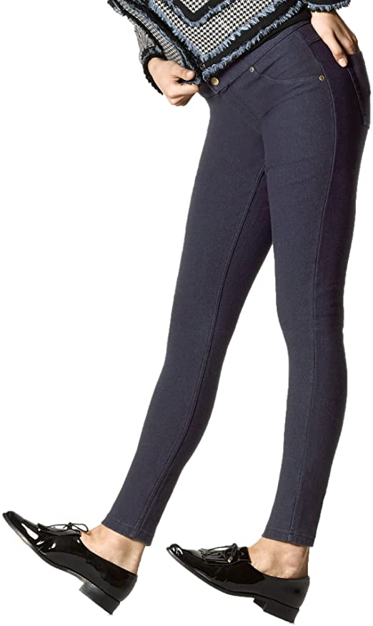 HUE Women's Fleece Lined Denim Leggings at Amazon Women's Clothing .