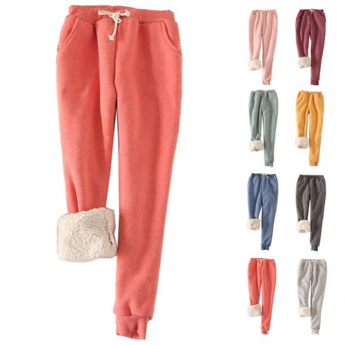Women Winter Thick Warm Fleece Lined Thermal Stretchy Pants .