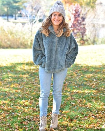Winter Outfit Ideas - Fleece Pullover Sweatshirt - Cozy | Top .