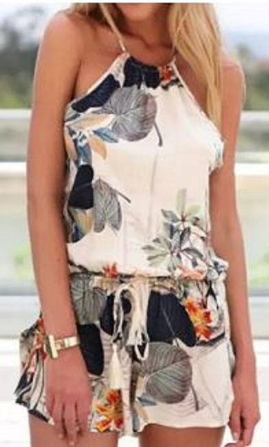 Stylish Round Neck Sleeveless Criss-Cross Printed Women's Romper .