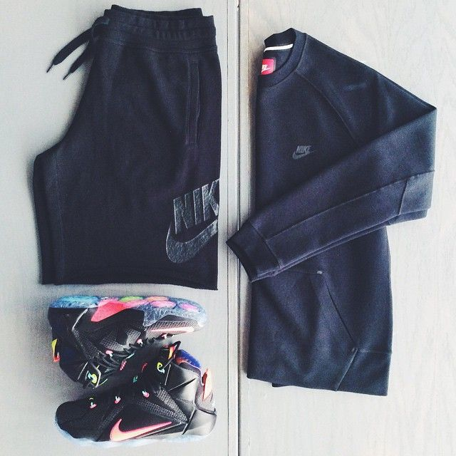 Lebron 12 'Data' Nike Tech Fleece Crewneck Nike AW77 Alumni Shorts .