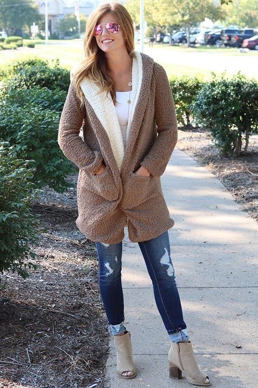 Charlie Hooded Fleece Coat in Mocha #trending #coatsjackets .