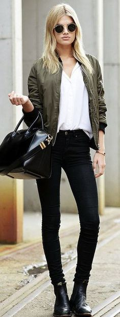 10 Best Black bomber jacket outfit images | Bomber jacket outfit .