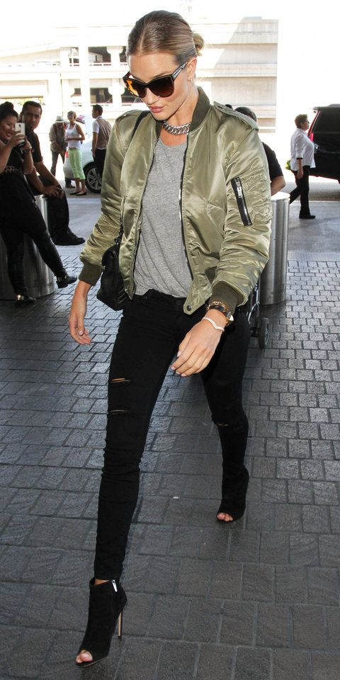 10 Celebrities Prove the Army Green Bomber Jacket Is the Season's .