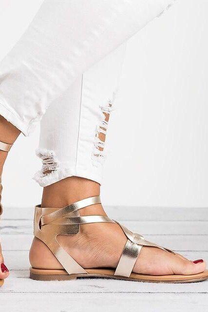 Gladiator Sandals Summer Beach Flat Women Rome Shoes | Womens .