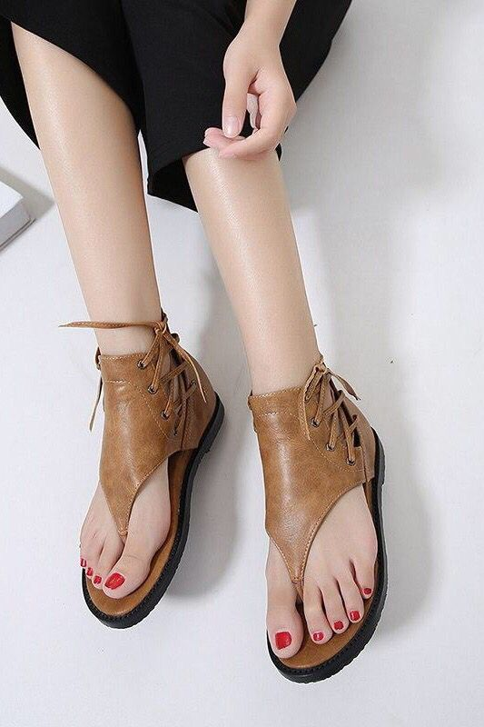 Women Leather Sandals Vintage Rome Style Flip Flop Covered Heel .