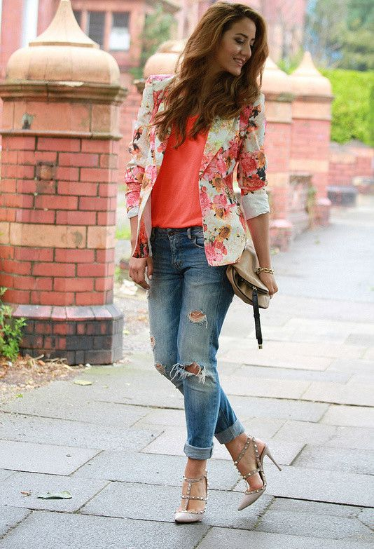 black and white print blazer outfits   Floral Blazer Outfits for .