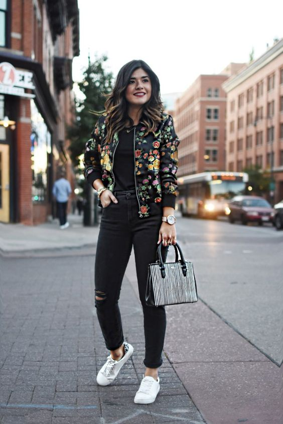 15 Trendy Floral Bomber Jacket Outfits - Styleohol