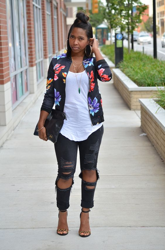 Make your outfits glamorous with a floral bomber jacket .