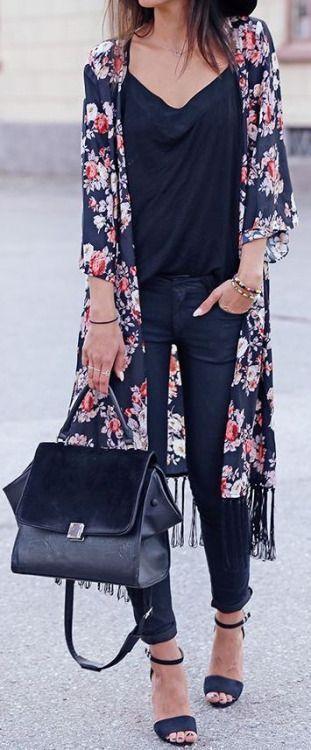 Total black + flower kimono. | Fashion, Casual outfits, Wom
