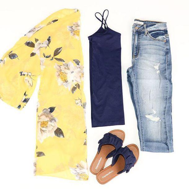 cardigan, kimono, floral, yellow, navy, womens fashion, womens .