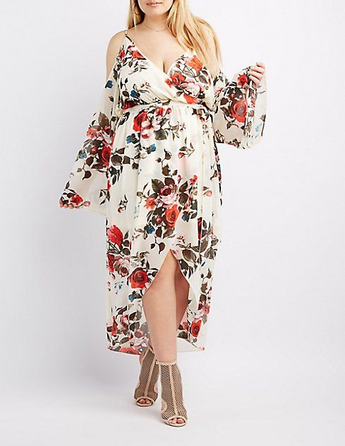 Plus Size Floral Surplice Cold Shoulder Maxi Dress | Cold shoulder .