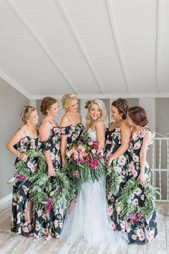 Picture Of dark floral cold shoulder maxi bridesmaid dresses with .