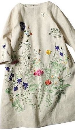 Winter day dress idea. Like in soft wool felt... embroidery look .